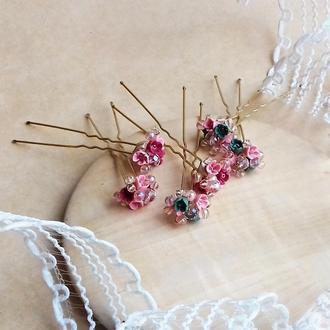 Розовые шпильки для волос с цветами, украшение волос, подарок девушке