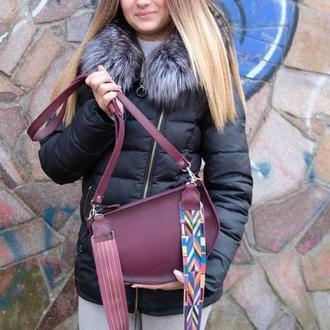 Женская кожаная сумочка Фуксия