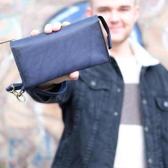 Кожаный кошелек Тревел с ремешком  цвет Синий