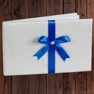 Свадебная книга для пожеланий, синий бант, 0796-21