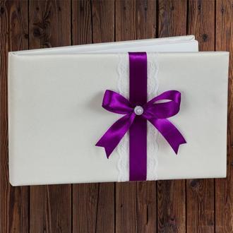 Весільна книга для побажань, фіолетовий бант, 0796-29