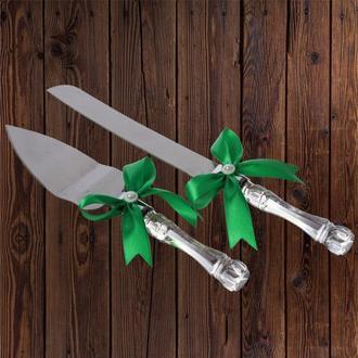 Приборы для свадебного торта, зеленый цвет, арт. DC-0168-10