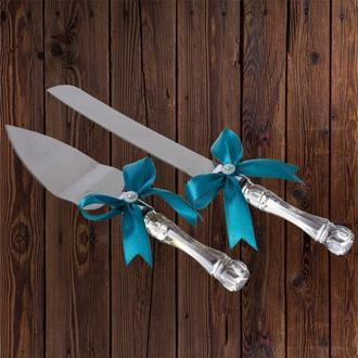 Приборы для свадебного торта, бирюзовый цвет, арт. DC-0168-13