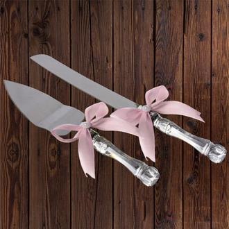 Приборы для свадебного торта, светло-розовый цвет, арт. DC-0168-14