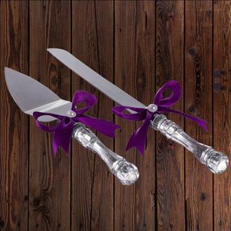 Приборы для свадебного торта, фиолетовый цвет, арт. DC-0168-29
