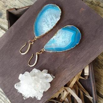 Яркие,стильный  серьги (натуральный голубой агат с кристаллами) 💎