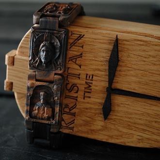 Деревянный браслет.  Мореный дуб и кап ореха. Наручний деревяний браслет иконки.