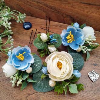 Шпильки свадебные Blue Wedding (комплект) Шпильки с цветами Шпильки для невесты