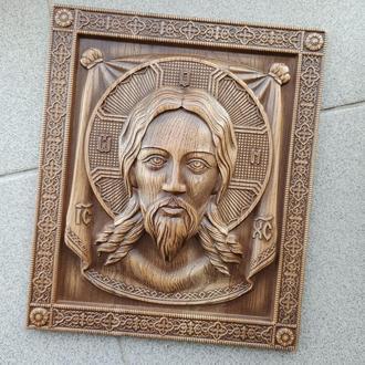 """Икона резная из дерева. """"Иисус 3"""""""