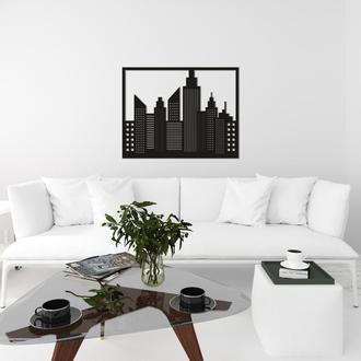 Дизайнерская настенная абстракция из дерева «Ночной город»