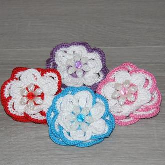 Резинка для волос с цветком, цветы крючком