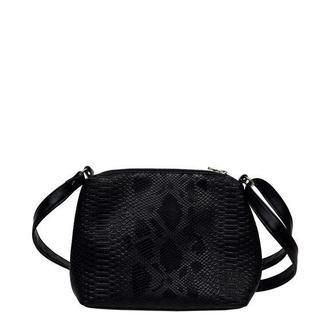 Женская черная сумка со змеиным принтом через плечо