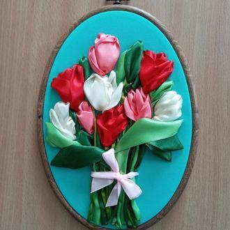 """Вышивка лентами """"Тюльпаны"""""""