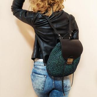 Рюкзак из кожи и трикотажной нити