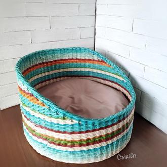 Лежак, лежанка плетеная для кошки, кота или небольшой собачки