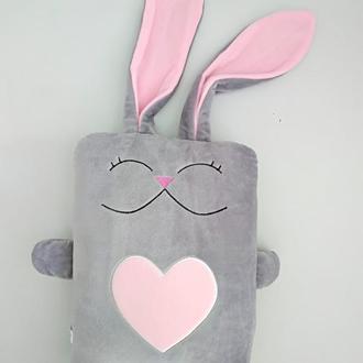 Мягкая игрушка подушка Strekoza Влюбленный Заяц 34см серый розовый