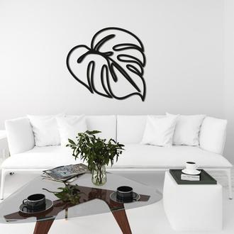 Декоративное настенное панно из дерева в форме листа