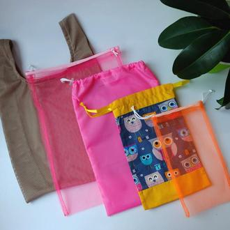 Набор эко мешочков, эко торбочки, мешки для хранения, для продуктов 12(6), еко мішечки