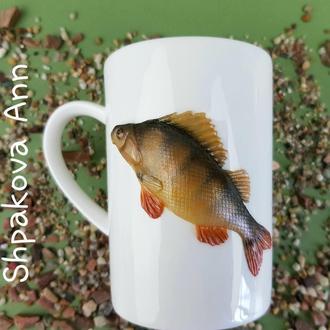 Окунь подарок рыбаку чашка с декором фарфоровая кружка