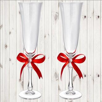 Весільні келихи, 2 шт, червоний бант, арт. WG-000002-16