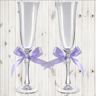 Весільні келихи, 2 шт, ліловий бант, арт. WG-000002-19