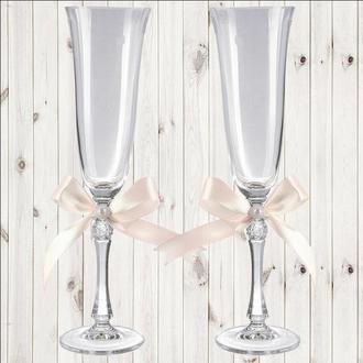 Свадебные бокалы, 2 шт, персиковый бант, арт. WG-000002-28