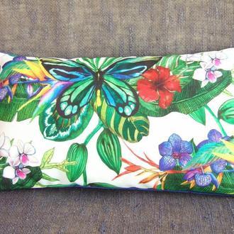 Интерьерная Boho Chic Подушка с рисунком «Тропические Бабочки и Цветы»