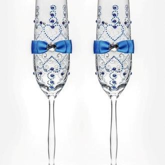 Свадебные бокалы синий, арт. SA-02103
