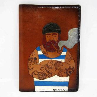 Кожаная обложка на паспорт с моряком, подарок моряку, для моряка подарок