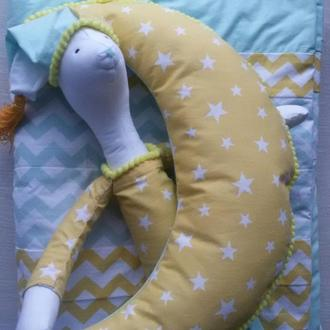 одеяло хлопок для детской кроватки, игрушкой медвежонок Умка и подушка луна