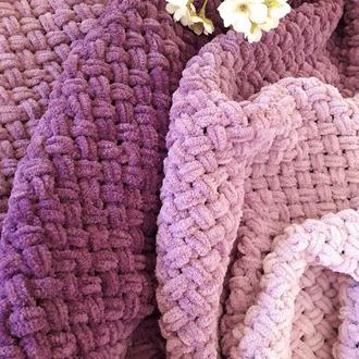 Плюшевый (велюровый) уютный плед Нежный фиолет (омбре)