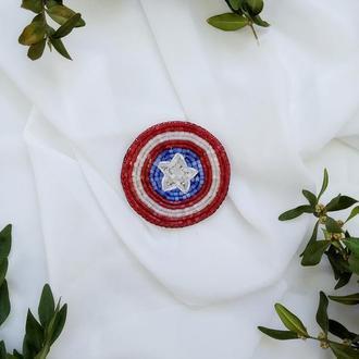 Брошь  Щит Капитана Америки