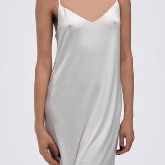 Платье комбинация шелковое, белое