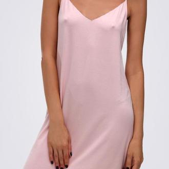 Платье комбинация шелковое, розовое