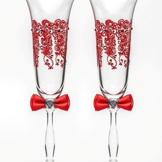 Свадебные бокалы красный, арт. SA-2214