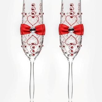 Свадебные бокалы красные, арт. SA-02104
