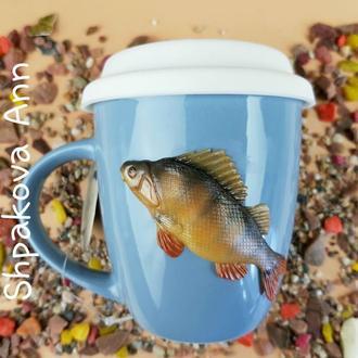Окунь подарок рыбаку чашка с декором полимерная глина кружка с рыбой