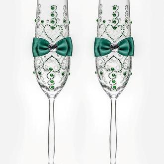 Свадебные бокалы изумрудный, арт. SA-021011