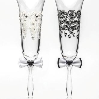 Свадебные бокалы белый и черный, арт. SA-2211