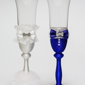 """Бокалы""""Клеопатра"""" (белый и синий), арт. SA-31"""