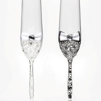 Свадебные бокалы черный и белый, арт. SA-021110