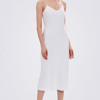 Платье комбинация миди шелковое, белое