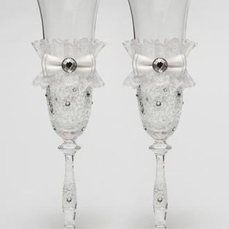 "Свадебные бокалы ""Винтажный шик"" белый, арт. SA-231"