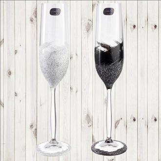 """Свадебные бокалы """"Краски Черный и Белый"""", арт. SAND-894"""
