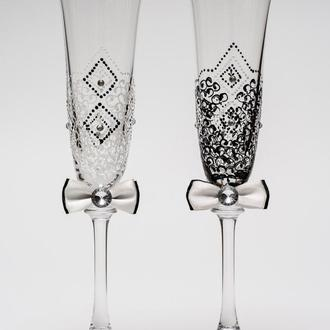 """Свадебные бокалы """"Элегантные"""" черный и белый цвет, арт. SA-2610"""