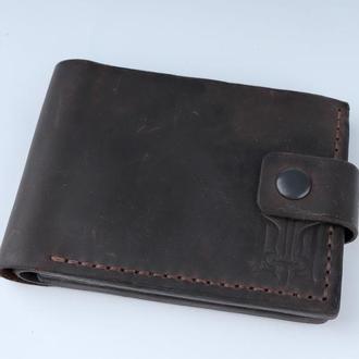 Кожаный кошелек с тиснением трезубца