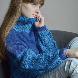 Вязаный ажурный женский свитер