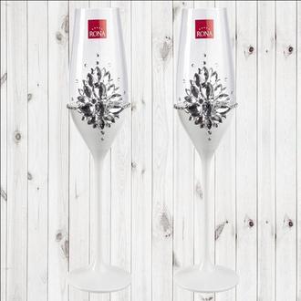 "Свадебные бокалы ""Камни"" белый перламутр, арт. SAND-899"