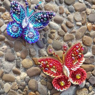 Брошки Бабочки , бисерные броши