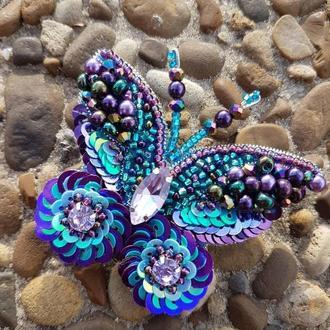 Сиреневая Бабочка малышка,  Бисерная брошь ручной работы